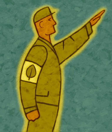 Soldier with leaf arm patch saluting