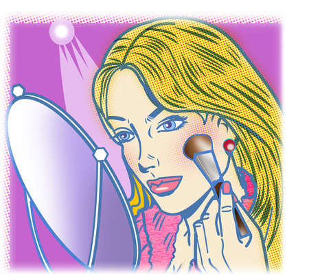 Woman applying blush to cheek with brush