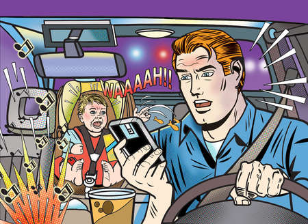 Man surrounded by distractions in car