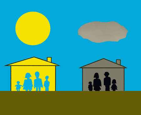 Sun over family in house and cloud over family in house