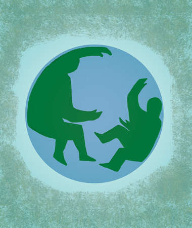 Green silhouettes of people on globe