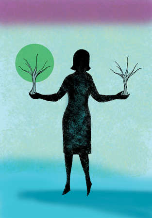 Woman holding growing tree in one hand and dead tree in opposite hand