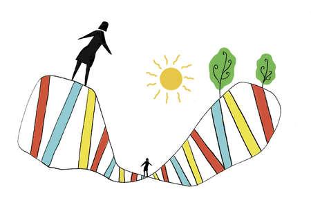 People walking on colorful double helix