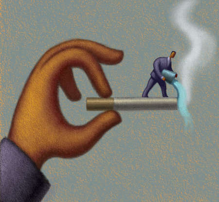 Small businessman extinguishing cigarette in large businessman's hand