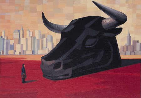 Businessman on Wall Street facing Head of Bull