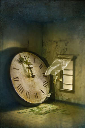 Wind blowing money in room with large clock
