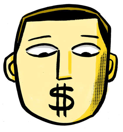 Man with dollar sign covering mouth