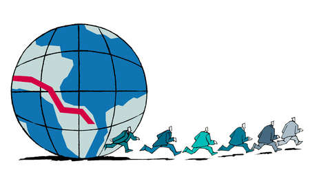 Businessmen running from globe graph with descending line