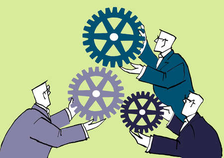Businessmen coming together with cogs