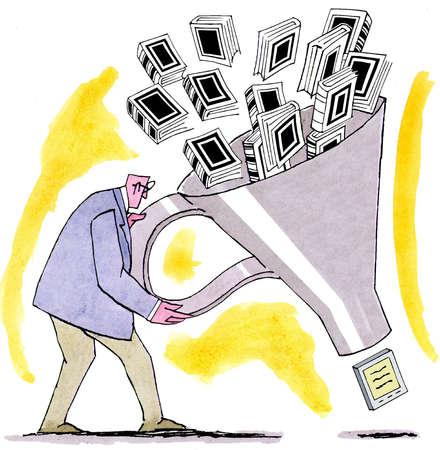 Businessman filtering books through large funnel into digital tablet