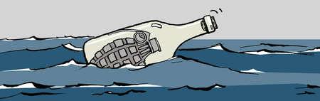 Grenade in bottle floating in ocean