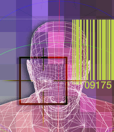 Scan of Man's Face with UPC Code