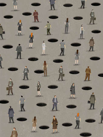 People walking among holes