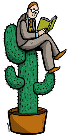 Man reading book on cactus