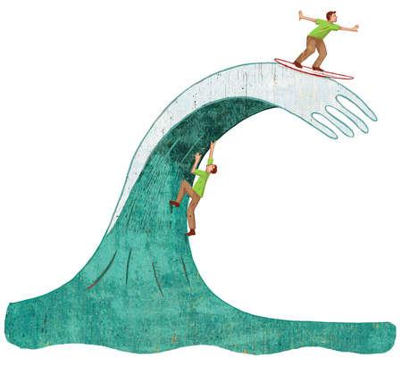 Man climbing wave and man riding wave