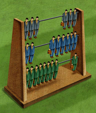 Businessmen forming abacus