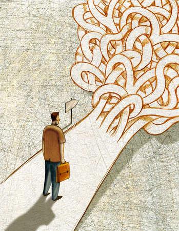 Man on tangled path