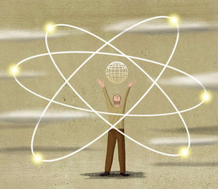 Man standing with globe inside atom symbol