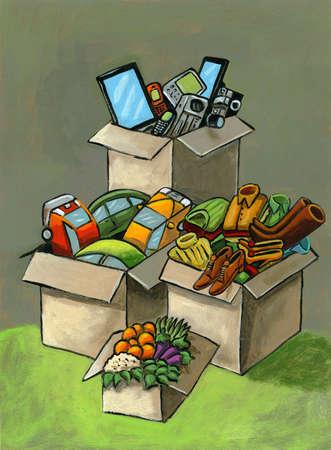 Cardboard boxes of belongings