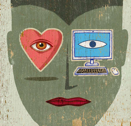 Computer and heart over woman's eyes