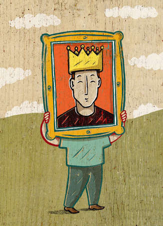 Man holding photo of self with crown over face