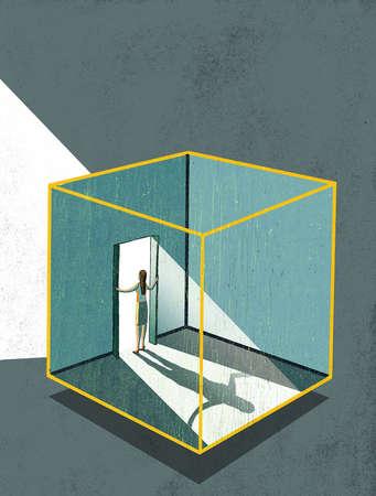 Woman in cube opening door