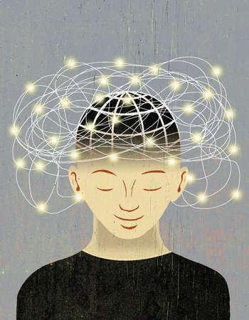 Tangle of illuminated lines over man's head