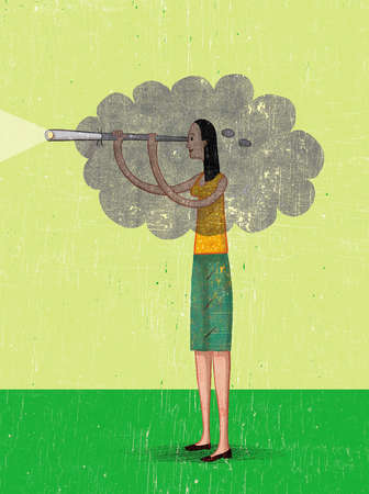 Cloud over woman with illuminated telescope