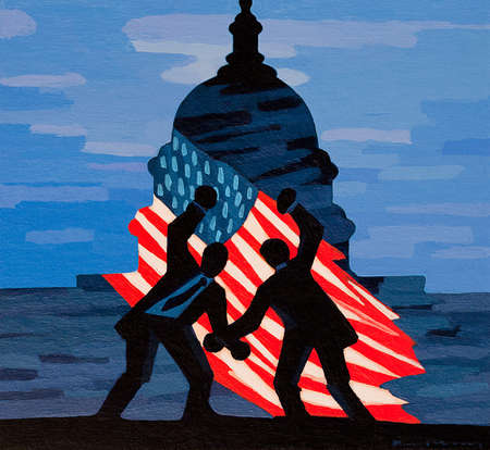 Two men fighting in front of the U.S. Flag and The Capitol