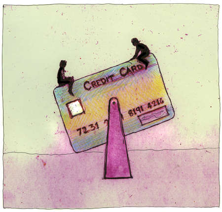People on credit card seesaw