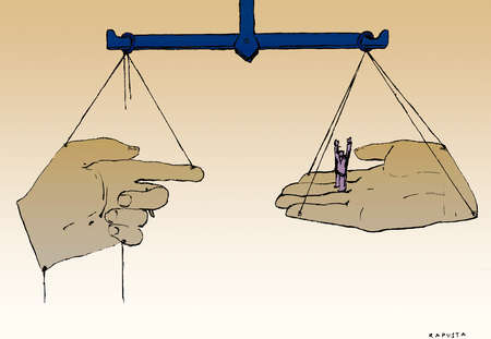 Finger and hand holding businessman balancing on pulley