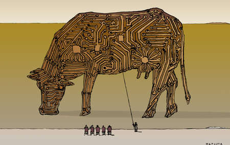 People examining circuit board on cow
