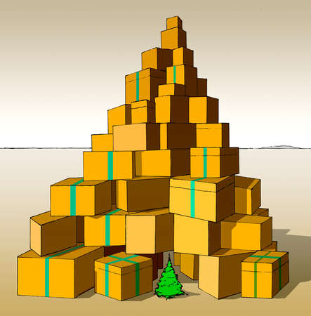 Christmas tree under tall pile of gift boxes