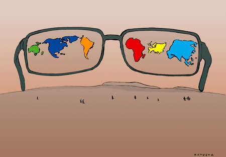 Continents reflected in large eyeglasses
