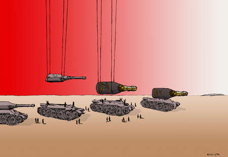 Champagne bottles over military tanks