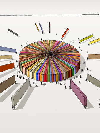 Crowd of people surrounding multicolor pie chart