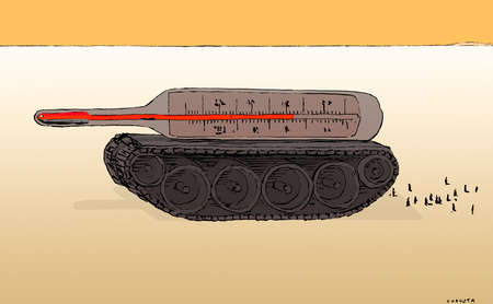Thermometer on military tank