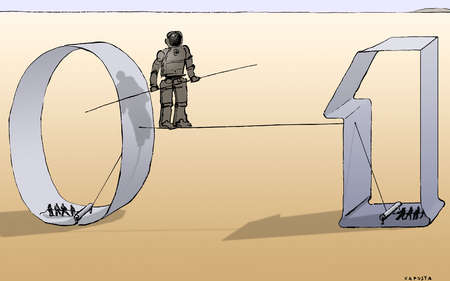 People supporting man in armor on binary code tightrope