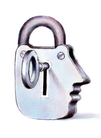 Face-shaped padlock