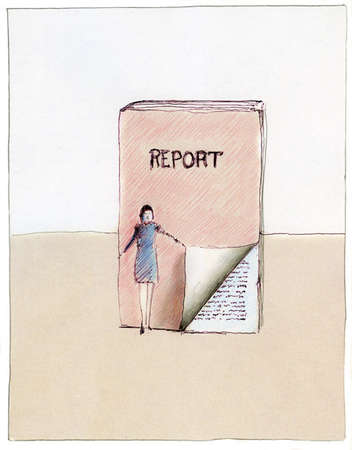 Businesswoman pulling back cover of report