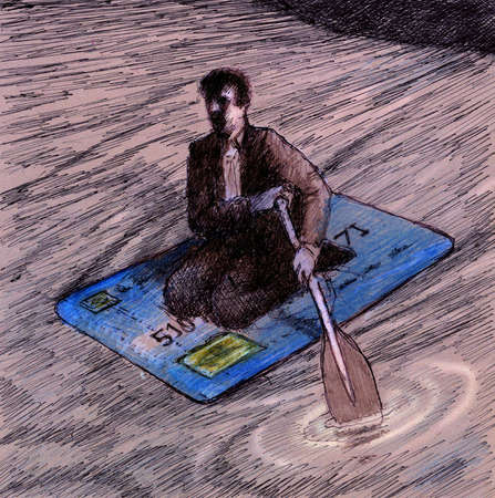 Businessman with paddle on credit card at sea