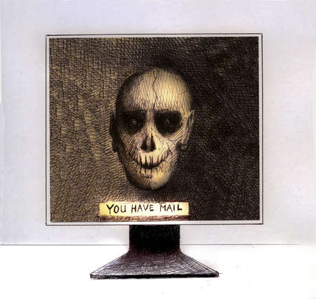 Skull and You Have Mail text on computer monitor