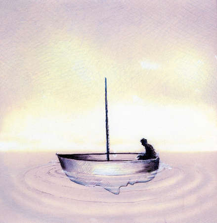 Man sitting in boat without sail