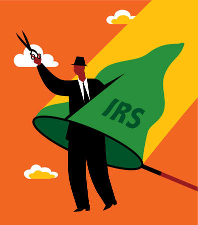 Businessman cutting through IRS net