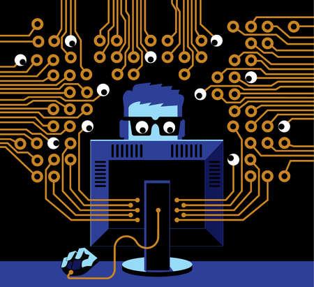 Eyes surrounding man at computer