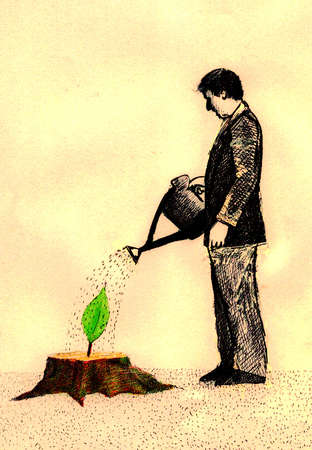Man watering leaf growing from tree stump