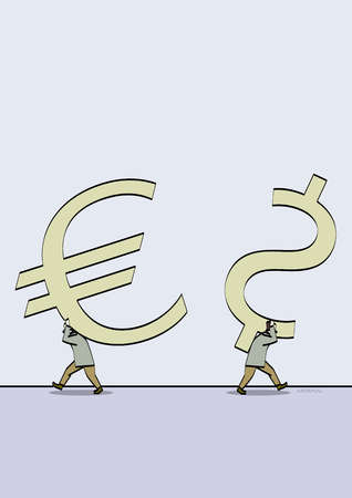Men carrying Euro and dollar sign symbols in opposite directions