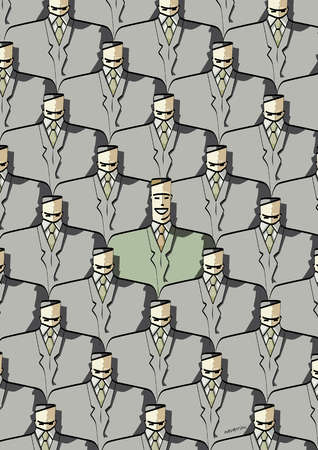 Businessman standing out from the crowd