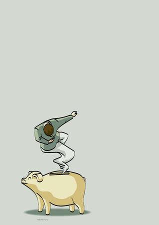 Businessman genie rising from piggy bank