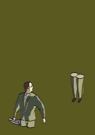Businessman missing legs